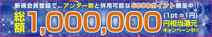 新規会員登録で、アンダー割と併用可能な5000ポイント贈呈中!!総額1,000,000円相当還元キャンペーン中!!