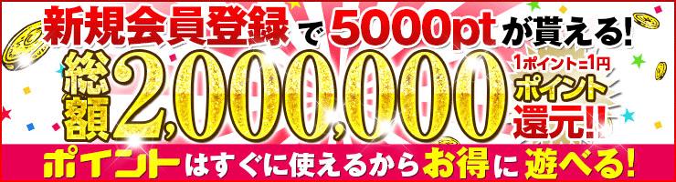 新規会員登録で5000ptが貰える!